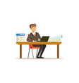 smiling businessman character in a suit working on vector image vector image