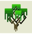Stylized geometric design of green trees vector image vector image