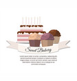 sweet cupcake bakery and cake with candles vector image vector image