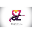 sz s z purple letter logo with swoosh design vector image vector image