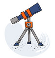 telescope cartoon hand drawn image vector image