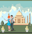 travel in india flat composition with young vector image vector image