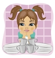 Unhappy girl standing in front of dirty dishes vector image