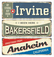 Vintage tin sign collection with us cities
