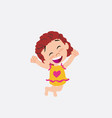 white girl in a swimsuit jumping for joy vector image