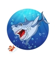 a shark chase the little fish vector image