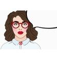 Pop art girl in glasses Vintage comics style vector image