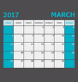 march 2017 calendar week starts on sunday vector image
