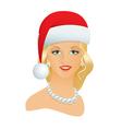 Girl in a Santa hat vector image