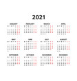 2021 yearly calendar vector image