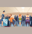avia passengers boarding stewardess offers food vector image vector image
