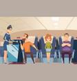 avia passengers boarding stewardess offers food vector image