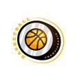 basketball league logo with ball yellow color vector image vector image