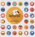 beach flat digital icon set vector image