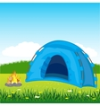 Blue tent on glade vector image vector image