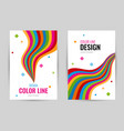 bright cover with bright rainbow line on white vector image vector image