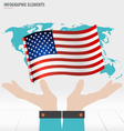 Business hand showing American Flag vector image