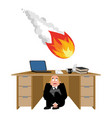 businessman scared under table of meteorite vector image vector image