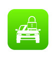 car with padlock icon digital green vector image vector image