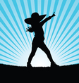 child with hat pose in nature silhouette vector image vector image