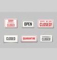 closed sign temporarily closed coronavirus vector image