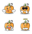 collection of pumpkin character cartoon style set vector image vector image