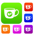 cup of coffee set color collection vector image vector image