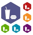 Fast food rhombus icons vector image vector image