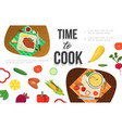 flat healthy food template vector image vector image