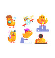 funny humanized chicken cartoon character in vector image vector image
