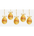 gold easter eggs with shape isolated vector image vector image