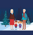 grandparents couple with kids in the field vector image