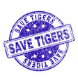 grunge textured save tigers stamp seal vector image vector image