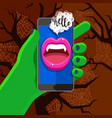 halloween concept green hand holding a phone vector image vector image