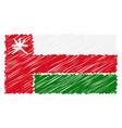hand drawn national flag of oman isolated on a vector image