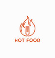 hot food logo fork in flame fire on background vector image