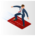 isometric young businessman with surf credit card vector image vector image
