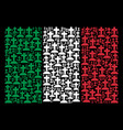 italy flag pattern of cemetery icons vector image