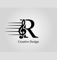 key note r letter logo music note on initial r vector image vector image