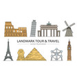 landmarks tour and travel icons set vector image