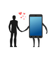 lover of gadgets man and smartphone hold on to vector image vector image
