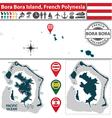 Map of Bora Bora island vector image vector image