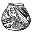 mexican jar with serpant design sketched in the vector image vector image