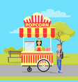 popcorn stall and man in park vector image