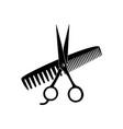 scissors comb black silhouette salon icon vector image