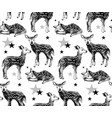seamless pattern with hand drawn baby deers vector image vector image