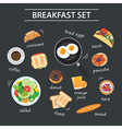 set of breakfast menu on chalkboard vector image