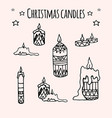 set of hand-drawn doodle christmas candles for vector image vector image