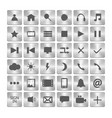 set of metalic icons metal buttons in the squares vector image