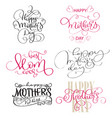 set of texts for mothers day vintage hand drawn vector image